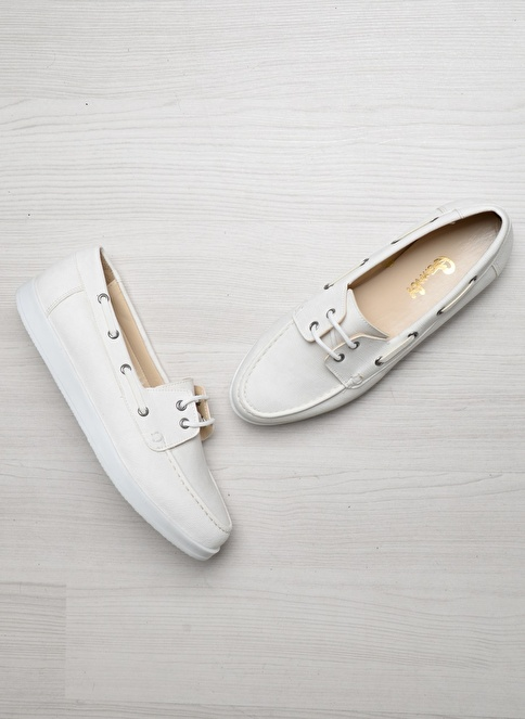 Bambi D0123237837 Beyaz Kadın Loafer Ayakkabı